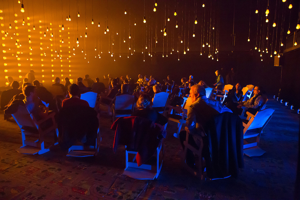 """The audience before the start of Samuel Beckett's """"All That Fall"""" in the Fishman Space at the Brooklyn Academy of Music. The set and lighting design was by Aedin Cosgrove."""