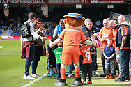 Luton Town mascot Harry the Hatter meeting fans before the EFL Sky Bet League 1 match between Luton Town and Bristol Rovers at Kenilworth Road, Luton, England on 15 September 2018.