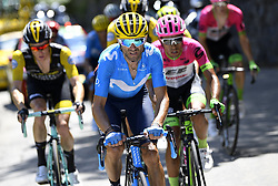 July 19, 2018 - Alpe D Huez, France - ALPE D'HUEZ, FRANCE - JULY 19 : VALVERDE Alejandro (ESP) of Movistar Team during stage 12 of the 105th edition of the 2018 Tour de France cycling race, a stage of 175.5 kms between Bourg-Saint-Maurice Les Arcs and Alpe D'huez on July 19, 2018 in Alpe D'huez, France, 19/07/2018 (Credit Image: © Panoramic via ZUMA Press)