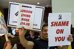London, UK. 1 June, 2019. Members of the United Voices of the World (UVW) and Independent Workers of Great Britain (IWGB) grassroots trade unions protest inside the Double Tree Hilton Hotel in solidarity with a former cleaner from whom wages were withheld. The protest was previously arranged to have taken place outside Chanel but arrangements were changed after the global fashion chain agreed to pay its cleaners the London Living Wage at its stores.