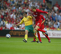 Liverpool v FBK Kaunas. Anfield. 02/08/05. UEFA Champions League 2nd qualifying round.<br /> Liverpooll new boy Peter Crouch has a go at goal