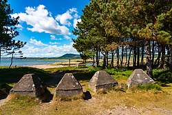 Second World War anti tank coastal defence concrete blocks on Fife Coastal Path at Ruddons Point, Largo Bay, Fife , Scotland, UK