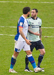 BLACKBURN, ENGLAND - Saturday, October 3, 2020: Cardiff City's Lee Tomlin (R) argues as he walks off after being shown a second yellow card and sent off during the Football League Championship match between Blackburn Rovers FC and Cardiff City FC at Ewood Park. The game ended in a 0-0 draw. (Pic by David Rawcliffe/Propaganda)