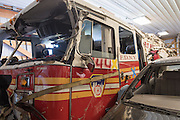 FDNY Fire Truck from the 911 attack on the World Trade Center in 911 Exhibit at Motts Military Museum in Groveport Ohio.