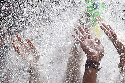 July 3, 2017 - Soria, Spain - People cooling off with water during the celebration of 'Las Bailas', in the last day of 'San Juan' festival,  in Soria, north of Spain. (Credit Image: © Jorge Sanz/Pacific Press via ZUMA Wire)