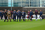 Service personnel lead out the England squad - England Training & Press Conference - UEFA Euro 2016 Qualifying - St George's Park - Burton-upon-Trent - 11/11/2014 Pic Philip Oldham/Sportimage