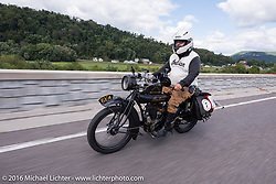Steve Rinker of WV on his 1916 Indian during the Motorcycle Cannonball Race of the Century. Stage-2 from York, PA to Morgantown, WV. USA. Sunday September 11, 2016. Photography ©2016 Michael Lichter.