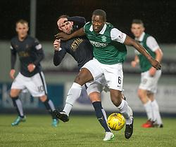 Falkirk's Mark Kerr and Hibernian's Marvin Bartley. Falkirk 0 v 1 Hibernian, Scottish Championship game played 20/10/2015 at The Falkirk Stadium.