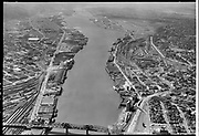 """Dock Commission. Aerial of Lower Harbor. June 6, 1955"""