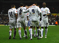 Photo: Paul Greenwood/Sportsbeat Images.<br />Leeds United v Huddersfield Town. Coca Cola League 1. 08/12/2007.<br />Leeds United's Jermaine Beckford (9) celebrates scoring with his teammates