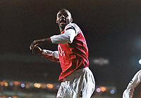 Fotball<br /> England 2004/2005<br /> Foto: Colorsport/Digitalsport<br /> NORWAY ONLY<br /> <br /> Patrick Vieira (Arsenal) celebrates scoring goal no.1<br /> <br /> Arsenal v Manchester United (2-4). 1/2/2005