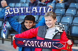 Young Scotland fans shows their support in the stands ahead of the International Friendly match at Hampden Park, Glasgow.