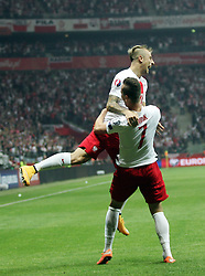 11.10.2014, National Stadium, Warsaw, POL, UEFA Euro Qualifikation, Polen vs Deutschland, Gruppe D, im Bild ARKADIUSZ MILIK POLSKA KAMIL GROSICKI POLSKA RADOSC BRAMKA GOL // ARKADIUSZ MILIK POLSKA KAMIL GROSICKI POLSKA RADOSC BRAMKA GOL // during the UEFA EURO 2016 Qualifier group D match between Poland and Germany at the National Stadium in Warsaw, Poland on 2014/10/11. EXPA Pictures © 2014, PhotoCredit: EXPA/ Newspix/ Michal Nowak<br /> <br /> *****ATTENTION - for AUT, SLO, CRO, SRB, BIH, MAZ, TUR, SUI, SWE only*****