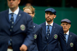 LONDON, ENGLAND - Saturday, July 6, 2019: Line judges during the Mixed Doubles first round match on Day Six of The Championships Wimbledon 2019 at the All England Lawn Tennis and Croquet Club. (Pic by Kirsten Holst/Propaganda)