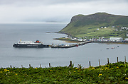 Uig village ferry terminal to reach the Outer Hebrides. Isle of Skye, Trotternish peninsula, Scotland, United Kingdom, Europe. Skye is the largest and northernmost of the major islands in the Inner Hebrides.