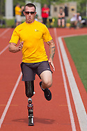West Point, New York -  Army's Allan Armstrong nears the finish line in the 1,500-meter run at the 2014 Army Warrior Trials at the United States Military Academy Preparatory School on Tuesday, June 17, 2014.<br />  Hosted by the U.S. Army Warrior Transition Command (WTC), the trials determine which athletes will compete at the 2014 Warrior Games this fall in Colorado Springs, Colorado.