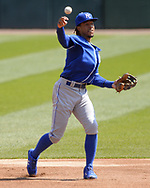 CHICAGO - APRIL 17:  Adalberto Mondesi #27 of the Kansas City Royals fields against the Chicago White Sox on April 17, 2019 at Guaranteed Rate Field in Chicago, Illinois.  (Photo by Ron Vesely)  Subject:   Adalberto Mondesi
