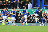Idrissa Gueye of Everton (2r) celebrates with his teammates after scoring his teams 1st goal. Premier league match, Everton v Sunderland at Goodison Park in Liverpool, Merseyside on Saturday 25th February 2017.<br /> pic by Chris Stading, Andrew Orchard sports photography.