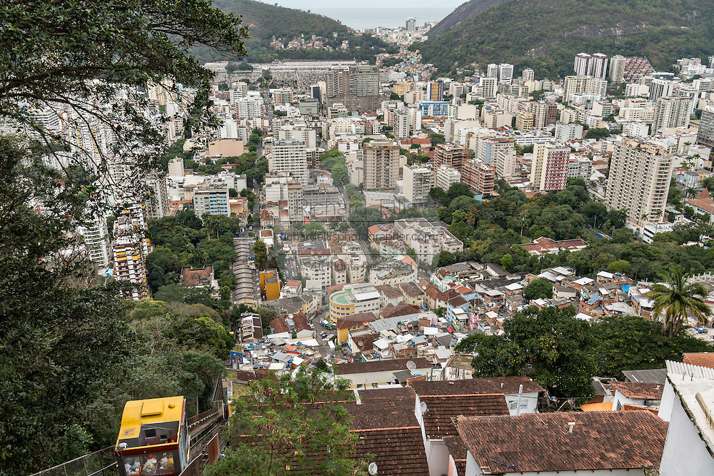 The Flamengo neighborhood seen from the hillside in the Favela Santa Marta in Rio de Janeiro, Brazil.