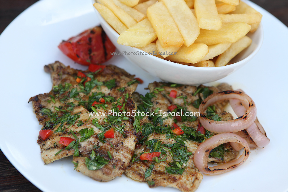 Char Grilled Chicken breast with french fries