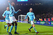 Tosin Adarabioyo of Manchester City, Lukas Nmecha of Manchester City and Bernardo Silva of Manchester City celebrate after they win the match in a penalty shootout .Carabao Cup quarter final match, Leicester City v Manchester City at the King Power Stadium in Leicester, Leicestershire on Tuesday 19th December 2017.<br /> pic by Bradley Collyer, Andrew Orchard sports photography.