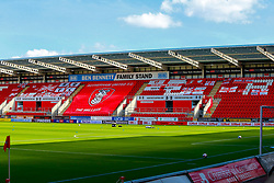 A display of flags sent in by Rotherham United fans in the stands of of the Aesseal New York Stadium, home to Rotherham United - Mandatory by-line: Ryan Crockett/JMP - 19/09/2020 - FOOTBALL - Aesseal New York Stadium - Rotherham, England - Rotherham United v Millwall - Sky Bet Championship