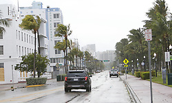A view of Ocean Drive on South Beach as the outer bands of Hurricane Irma reach Miami early on Saturday, September 9, 2017. Photo by David Santiago/El Nuevo Herald/TNS/ABACAPRESS.COM