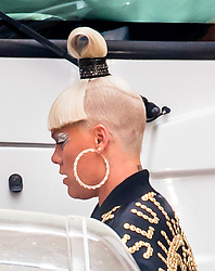EXCLUSIVE: Pink is on set of her music video in Los Angeles for the song, 'Revenge.' The singer was seen with her signature hair style and a jacket which read the word 'slut' on the back of it. Her baby boy, Jameson was seen on set with her. ***SPECIAL INSTRUCTIONS*** Please pixelate children's faces before publication.***. 19 Sep 2017 Pictured: Pink. Photo credit: MEGA TheMegaAgency.com +1 888 505 6342