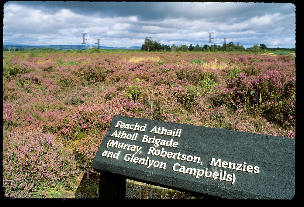 Sign marks battle line where Jacobite army's Atholl Brigade stood at Culloden Moor on April 16, 1746; Inverness Scotland.