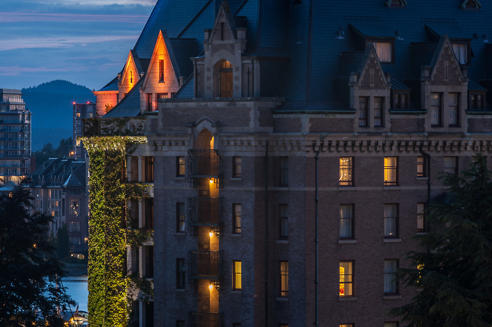 Empress Hotel, dusk, July, Victoria, British Columbia, Canada