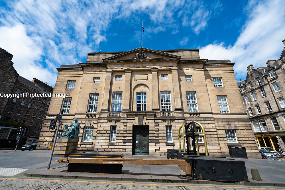 Exterior view of High Court in Edinburgh on the Royal Mile in Old Town, Scotland, UK