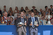 """Henley on Thames, United Kingdom, 8th July 2018, Sunday, Winners, """"The Silver Goblets and Nickalls' Challenge Cup, SINKOVIC Brothers, Left,  Martin and  Valent,  """"Fifth day"""", of the annual,  """"Henley Royal Regatta"""", Henley Reach, River Thames, Thames Valley, England, © Peter SPURRIER,"""
