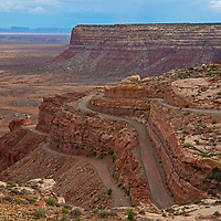 The Moki Dugway highway climbs up Cedar Mesa in a part of southeastern Utah that was previously part of Bears Ears National Monument.