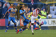 Stoke City midfielder Peter Etebo (8) shoots on goal during the The FA Cup 3rd round match between Shrewsbury Town and Stoke City at Greenhous Meadow, Shrewsbury, England on 5 January 2019.