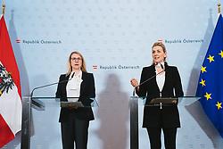07.03.2020, Bundeskanzleramt, Wien, AUT, Pressestatement zu Kurzarbeit bei den Austrian Airlines und zur Absicherung der Arbeitsplätze und des Wirtschaftsstandortes, im Bild v. l. Magarete Schramboeck (OeVP), Christine Aschbacher (OeVP)// during press statement on short-time work at Austrian Airlines and to safeguard jobs and the business location at the federal chancellery in Vienna, Austria on 2020/03/07. EXPA Pictures © 2020, PhotoCredit: EXPA/ Florian Schroetter
