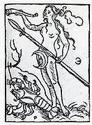 Planetary figure of the Moon. From 'Sphaera mundi', Strasburg, 1539.
