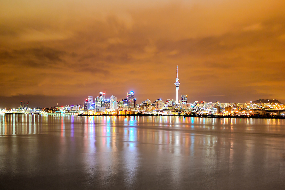 auckland at night from the harbour bridge