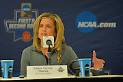 March 17, 2016: Arizona State Sun Devils head coach Charli Turner-Thorne addresses the media during the first practice day of the 2016 NCAA Division I Women's Basketball Championship first round in Tempe, Ariz.