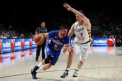 13.09.2014, City Arena, Madrid, ESP, FIBA WM, Frankreich und Litauen, Entscheidungsspiel zwischen Platz 3 und 4, im Bild France´s Diot (L) and Lithuania´s Valanciunas // during FIBA Basketball World Cup Spain 2014 playoff match place 3 and 4 between France and Lithuania at the City Arena in Madrid, Spain on 2014/09/13. EXPA Pictures © 2014, PhotoCredit: EXPA/ Alterphotos/ Victor Blanco<br /> <br /> *****ATTENTION - OUT of ESP, SUI*****