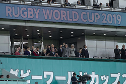 November 1, 2019, Tokyo, Japan: Japan's former emperor Akihito and his wife attend the Bronze Final match between New Zealand and Wales during the Rugby World Cup 2019 at Tokyo Stadium. New Zealand defeats Wales 40-17. (Credit Image: © Rodrigo Reyes Marin/ZUMA Wire)