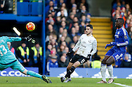 """Kevin Mirallas of Everton """"scores"""" a goal which was ruled offside. Barclays Premier league match, Chelsea v Everton at Stamford Bridge in London on Saturday 16th January 2016.<br /> pic by John Patrick Fletcher, Andrew Orchard sports photography."""