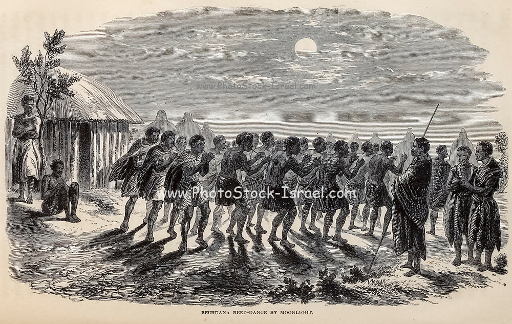 Bechuana [Tswana people] Reed-dance by Moonlight From the Book ' Missionary travels and researches in South Africa ' including Sixteen Years Residence in the Interior of Africa. by Dr. David Livingstone Published in New York by Harper & Brothers 1858