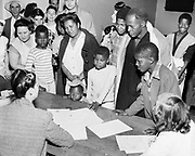 Y-480530-17.  Red Cross workers register the names of survivors. May 30, 1948