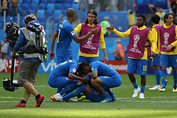 June 22, 2018 - St. Petersburg, Russia - June 22, 2018, Russia, St. Petersburg, FIFA World Cup 2018, First round, Group E, Second round, Brazil - Costa Rica at the St Petersburg stadium. Player of the national team Neimar; PSG; sadness; joy; Goal; victory; (Credit Image: © Russian Look via ZUMA Wire)