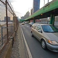 Traffic rushes along East River Drive in New York City.