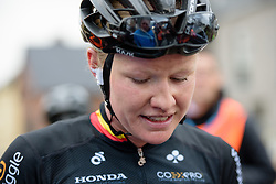 Jolien D'hoore catches her breath after the win at the 127 km Omloop van het Hageland on February 26th 2017, starting and finishing in Tielt Winge, Belgium. (Photo by Sean Robinson/Velofocus)