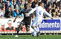 Fotball NM Cup 1.runde Orkla-Rosenborg<br /> 24 april 2014<br /> <br /> Orkdalsbanken Stadion, Fannrem<br /> <br /> John Chibuike, Rosenborg (V) og Gøran Aakerholm, Orkla, i duell<br /> <br /> <br /> Foto : Arve Johnsen, Digitalsport