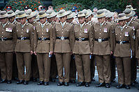 @Licensed to London News Pictures 08/11/15. Maidstone, Kent. Serving and veteran soldiers from The Queens Gurkha Engineers and the 36 Engineer Regiments attaending the Remembrance Day service at the War Memorial in Maidstone Kent. Photo credit: Manu Palomeque/LNP