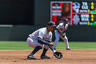 Eduardo Escobar #5 of the Minnesota Twins waits for a pitch during a game against the Seattle Mariners on June 2, 2013 at Target Field in Minneapolis, Minnesota.  The Twins defeated the Mariners 10 to 0.  Photo: Ben Krause