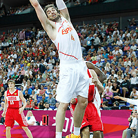 10 August 2012: Spain Pau Gasol grabs a rebound during 67-59 Team Spain victory over Team Russia, during the men's basketball semi-finals, at the North Greenwich Arena, in London, Great Britain.